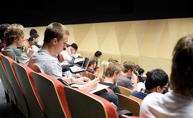 Image: Students sitting a lecture theatre