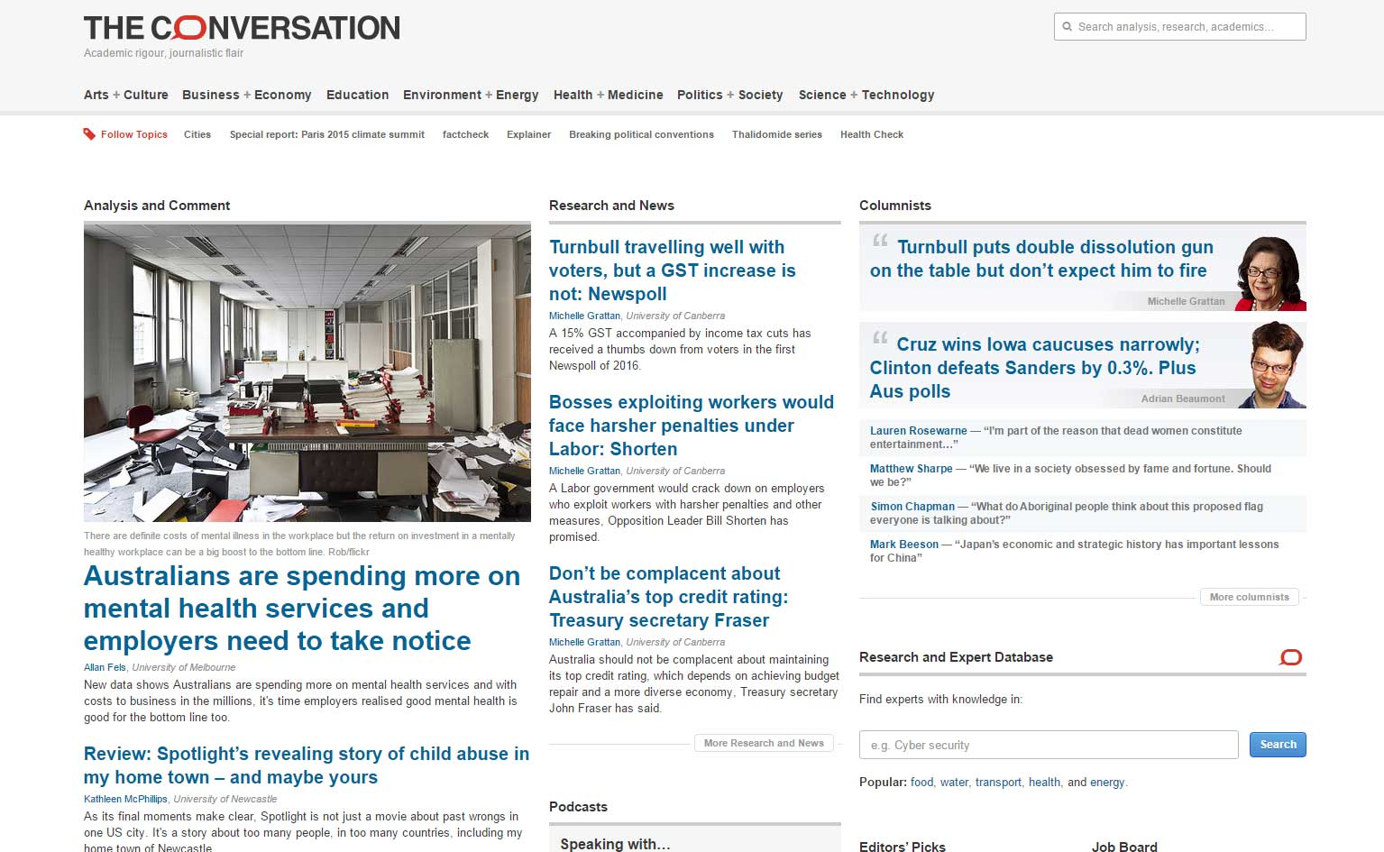 Photograph of The Conversation homepage on 3 February 2016