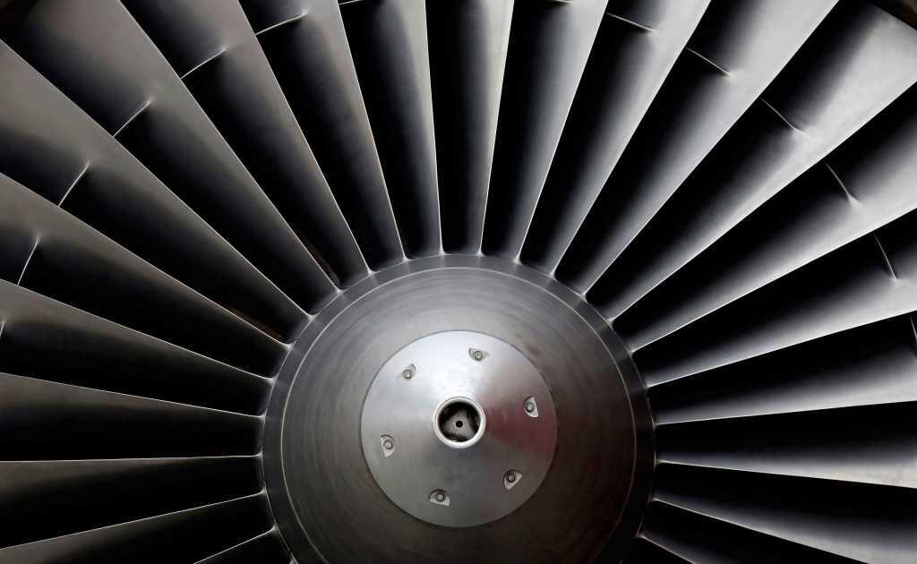 Close up of a jet engine.