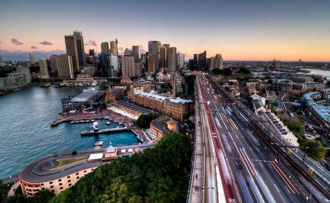 Image: Aerial view of busy Sydney CBD at dusk